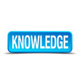 Knowledge blue 3d realistic square isolated button vector image