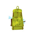 large camouflage backpack with ax tourist mat and vector image vector image