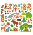 large set with forest animals and children vector image