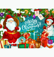 merry christmas card with santa claus and snowman vector image vector image