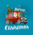 merry christmas greeting card happy santa claus vector image vector image