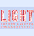 pink lighting font alphabet letters with bulbs vector image vector image
