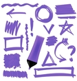 Purple Marker Set of Graphic Signs Arrows vector image vector image