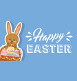 rabbit holding floral basket and decorative eggs vector image vector image
