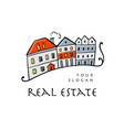 real estate logo template old europe street vector image vector image