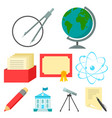 school set icons in cartoon style big collection vector image vector image