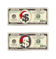 set of christmas bill one hundred dollars with vector image vector image