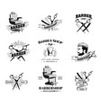 set of retro barber shop emblems vector image