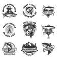 set of salmon fishing emblems seafood design vector image vector image