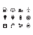 Silhouette power and energy icons vector image vector image