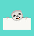 sloth and empty white paper design vector image vector image