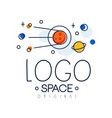 space logo original exploration of space label vector image vector image
