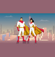 superhero couple asian city day vector image vector image