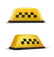 taxi checker yellow sign realistic set taxicab vector image vector image