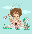 with girl lying on the grass and reading a book vector image