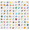 100 office supplies icons set isometric 3d style vector image vector image