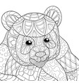 adult coloring bookpage a cute bear image for vector image