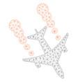 airplane smoke trace polygonal frame mesh vector image vector image