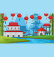 an outdoor scene with asian castle vector image vector image
