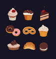 bakery icons set various sweets bakery products vector image