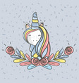 beautiful head unicorn with long mane vector image vector image