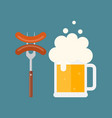 beer mug with foam and sausage on a fork vector image