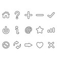 black interface outline icons set vector image