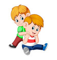 boy and her brother on her back playing together vector image vector image