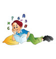 boy studying math vector image vector image