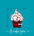 burgundy cake with a bow on a blue background vector image vector image