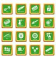 car repair parts icons set green square vector image vector image