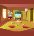 cartoon interior of playroom for children vector image