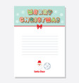 christmas santa letter blank template a4 decorated vector image