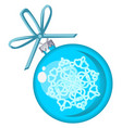 christmas toy in the form of a blue ball with vector image