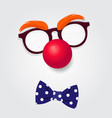 clown glasses red nose and bow tie vector image vector image