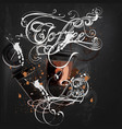 coffee poster with mugs coffee vector image vector image