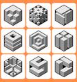 cube icon set 4 vector image vector image