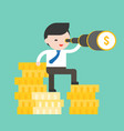 cute business man standing on stack of gold coins vector image