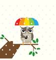Cute owl with umbrella vector image vector image