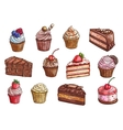 Desserts and sweet cakes sketch icons vector image vector image