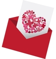 envelop with love letter vector image vector image