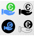 euro coin donation hand eps icon with vector image