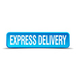 express delivery blue 3d realistic square isolated vector image