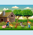 farming activities on farms with animals vector image vector image