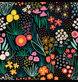 flower field bright colors on black seamless vector image