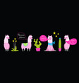 funny lamas and cacti flat set vector image vector image