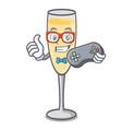 gamer champagne mascot cartoon style vector image