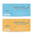 gift voucher template on blue and yellow vector image vector image