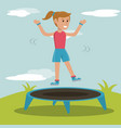 happy girl jumping trampoline sport design vector image