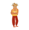 healthy granny active old lady character in vector image